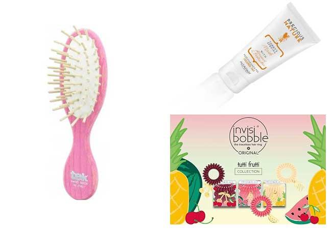 prodotti capelli estate - spiaggia - spazzola da borsetta - pettina - elastici capelli
