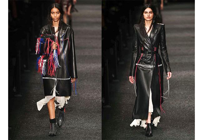 cappotto pelle nera donna, lexdander mcqueen