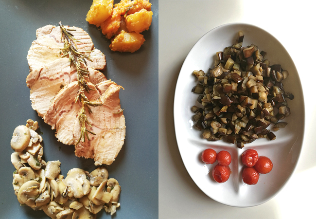 pranzo della domenica pasta al sugo di melanzane lonza al forno con patate e funghi trifolati contorni