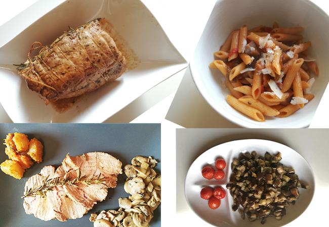 pranzo della domenica pasta al sugo di melanzane lonza al forno con patate e funghi trifolati