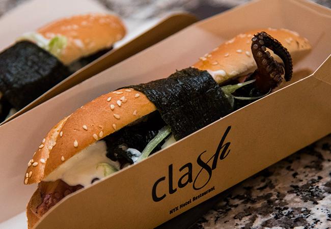 clash milano ristorante nyx hotel street food champagne menu gourmet aperitivo hot dog di polpo