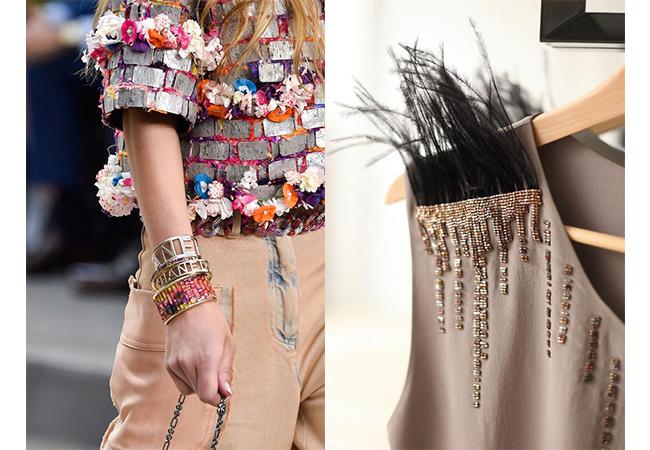 chanel 2015 dettagli applicazioni sui vestiti fashion moda abiti