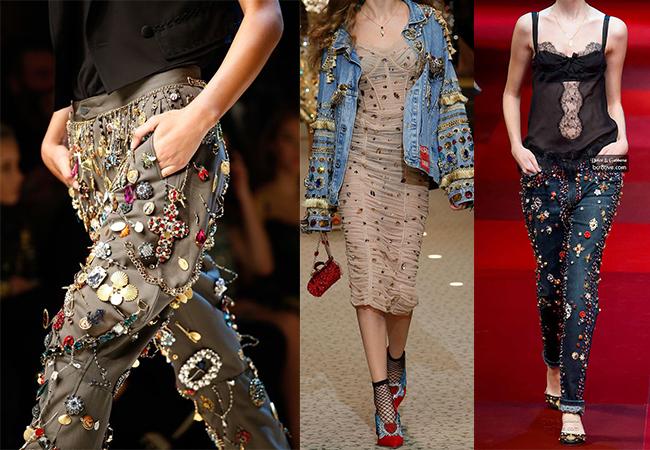 dolce & gabbana applicazioni sui vestiti fashion moda abiti