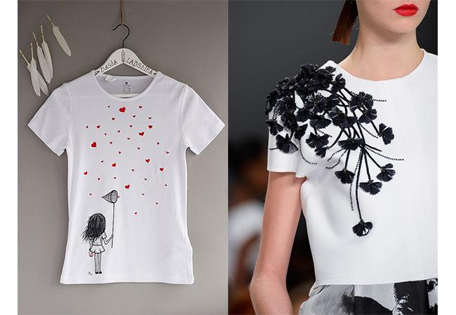 tshirt carolina herrera applicazioni sui vestiti fashion moda abiti